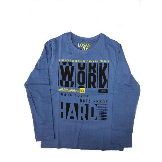 923-1201aa-losan-ble-t-shirt-work-hard-agori-blouza-makri-maniki