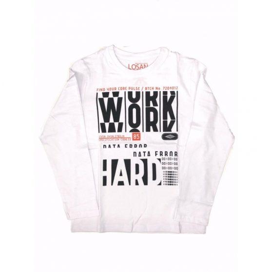 923-1201aa-losan-leuko-t-shirt-work-hard-agori-blouza-makri-maniki